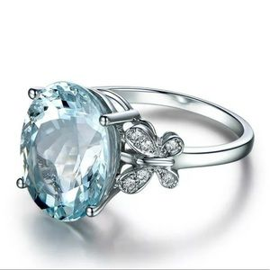 6ct Aquamarine Halo Diamond Wedding Ring